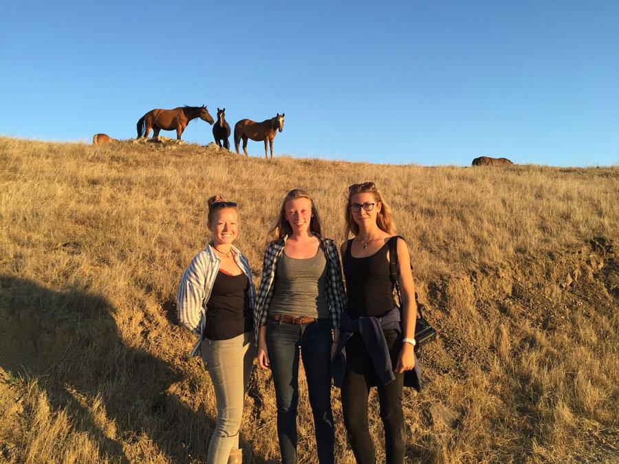 From left, Samantha Asher, Karen Schellekens and Josephine Blossfield are three of RTF's In Residence Work Study Volunteers
